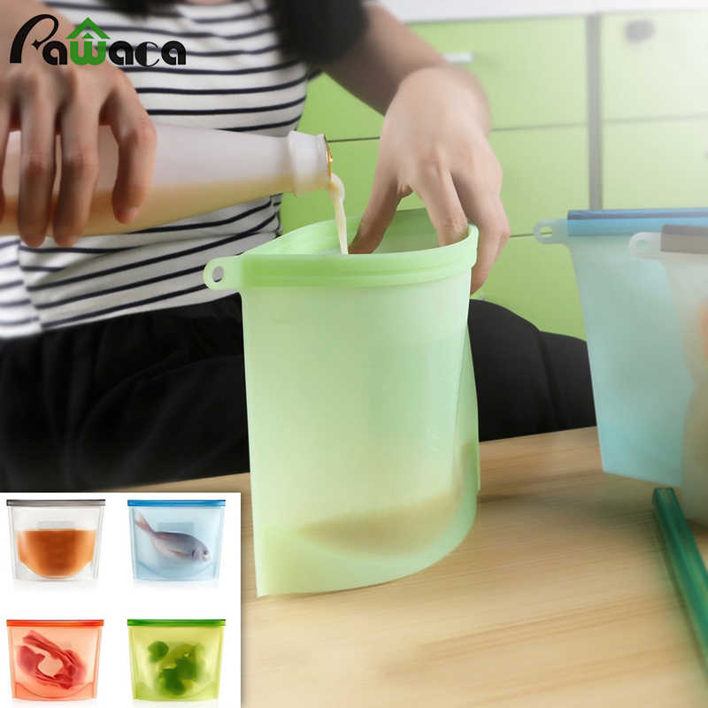4pcs Reusable Silicone Food Storage Bags Set Vacuum Sealer Wraps Kitchen Fridge Food Holder Containers Fresh Saver Bag Storage
