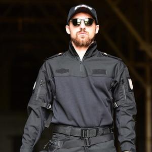 "Image 5 - גברים צבאי טקטי חולצה ארוך שרוול SWAT חיילים לנשימה מהיר יבש Combat T חולצה Airsoft בגדי איש של צבא ארה""ב חולצות"