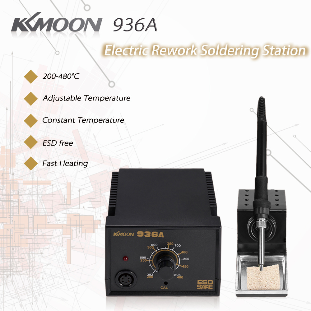 KKmoon 936A Electric Rework Soldering Station Solder Iron Stand Holder with Sponge Adjustable Constant Temperature 110V free shipping soldering iron 60w electric soldering iron constant temperature solder iron