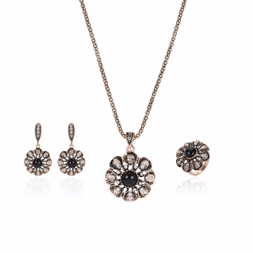 Retro Gold Color Flower Pendant Earrings Ring Sets Elegant Accessories  Nigerian Party Prom Gift Black Dress