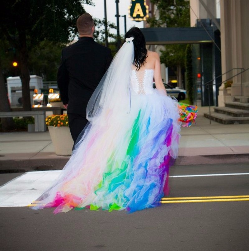 Robe De Mariage White And Rainbow Wedding Dress Tulle Lace