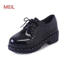 2018 Spring Ladies Platform high heels Pump Women Sexy Lolita Black Shoes Block Heels Brand Female Patent Leather Office Shoes(China)