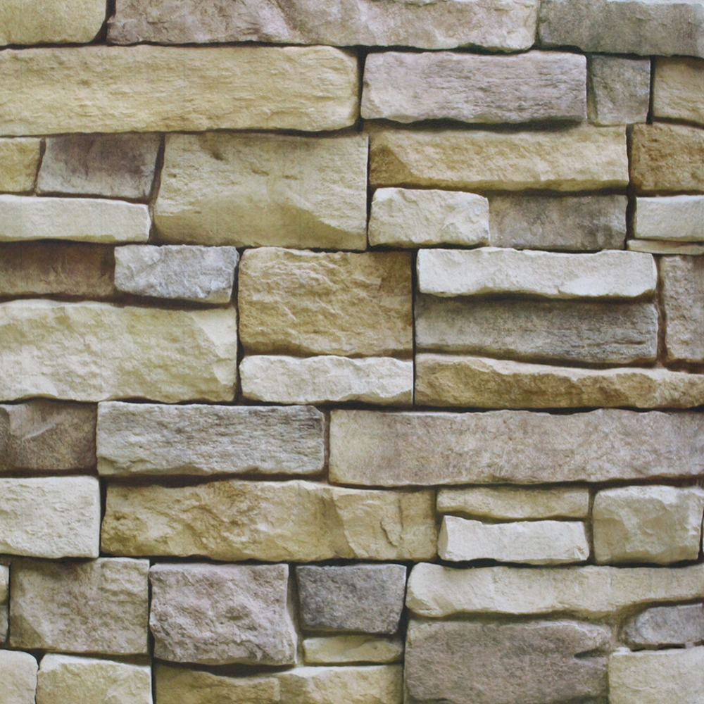 HaokHome Vintage Brick Peel Stick Brick Stone Wallpaper For wall 3d Stacked Stone mural Tan Self Adhesive living room Wall Decor 2 sheet pcs 3d door stickers brick wallpaper wall sticker mural poster pvc waterproof decals living room bedroom home decor