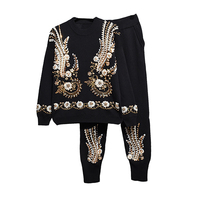 2019 spring and autumn women suit women' beaded sequins embroidered knit Sweater+harem pants 2 sets of winter Ms sets Sportswear
