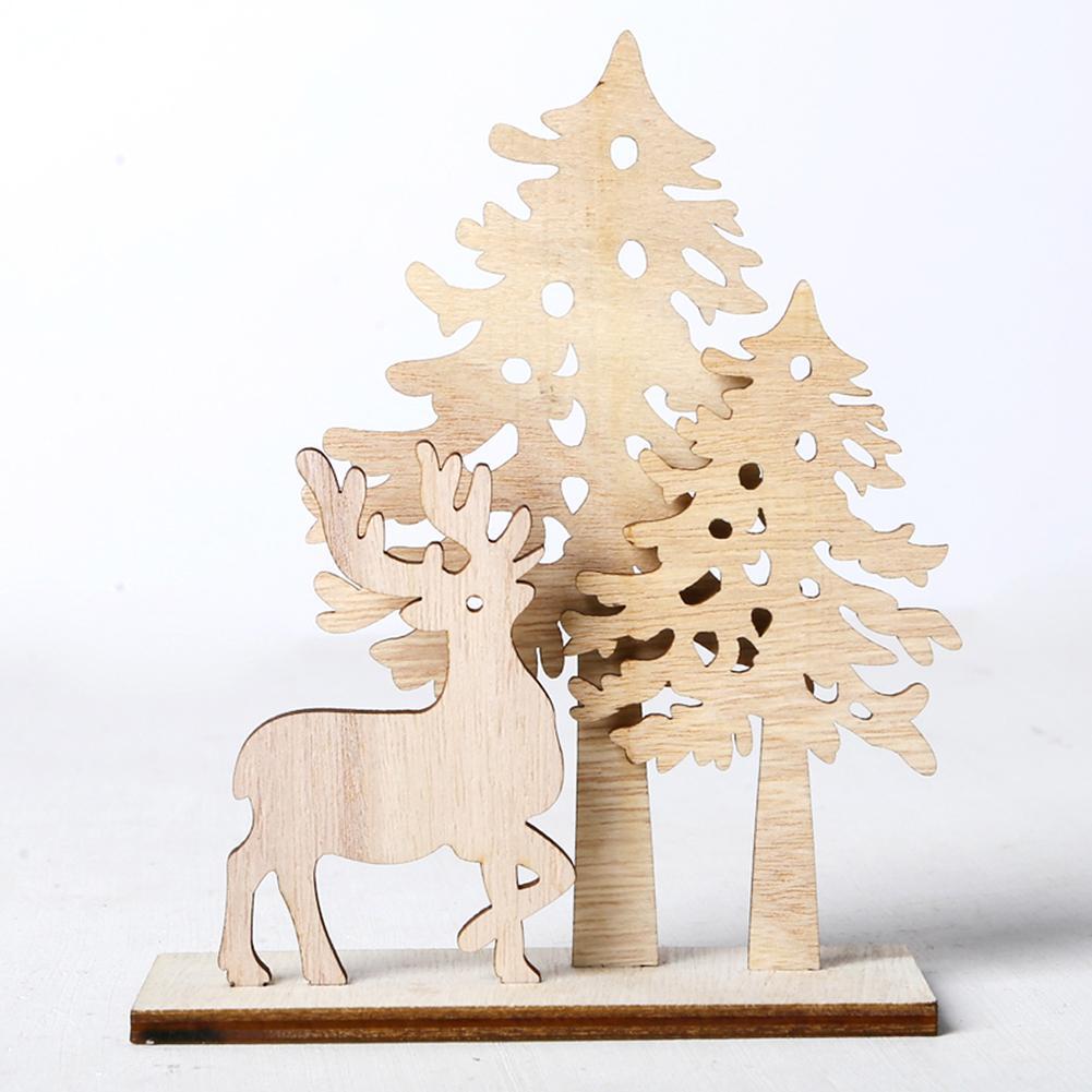 Wooden Christmas Tree Elk Creative Christmas DIY Home Decoration Crafts Decoration For Living Rooms Desktops Desks