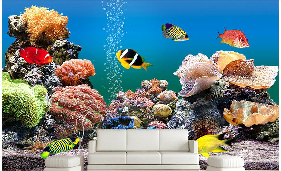 3d wallpaper custom photo non-woven mural wall sticker sea world fish, coral aquarium painting picture 3d room murals wallpaper customized 3d wallpaper 3d pvc floor painting wallpaper sea fish 3d floor tile beauty 3d wall murals room decoration