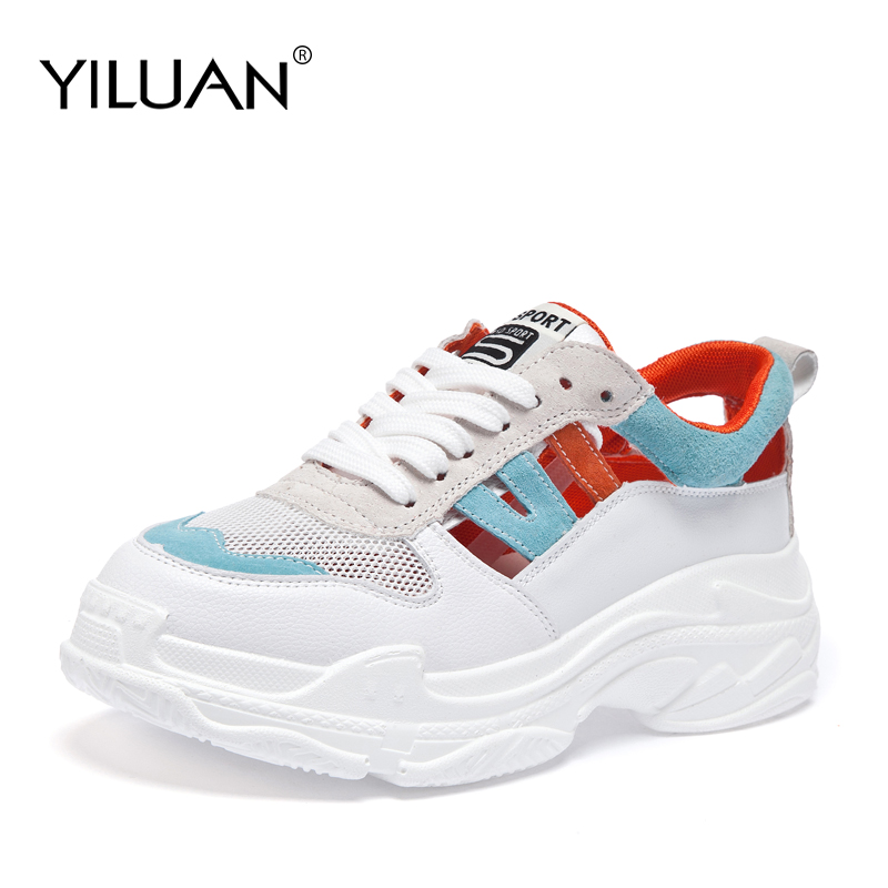 2019 summer net face thick bottom breathable shoes dad shoes ladies sponge shoes hollowed out sneakers
