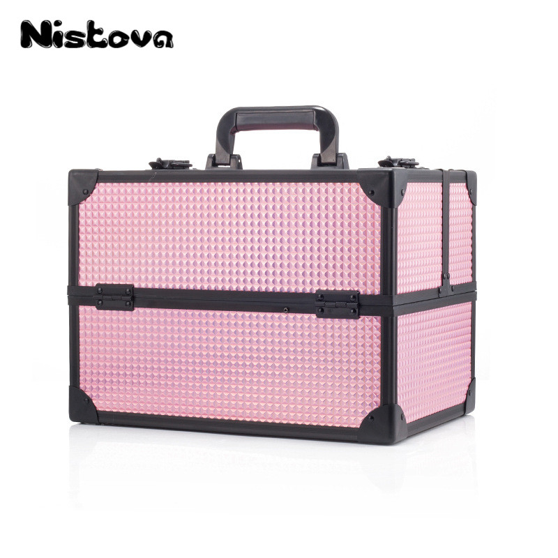 New Professional Aluminum Alloy Cosmetic Bag Double Open Multilayer Large Capacity Cosmetic Box Portable Multifunctional Toolbox ws 481 1 часы русалка и дитя