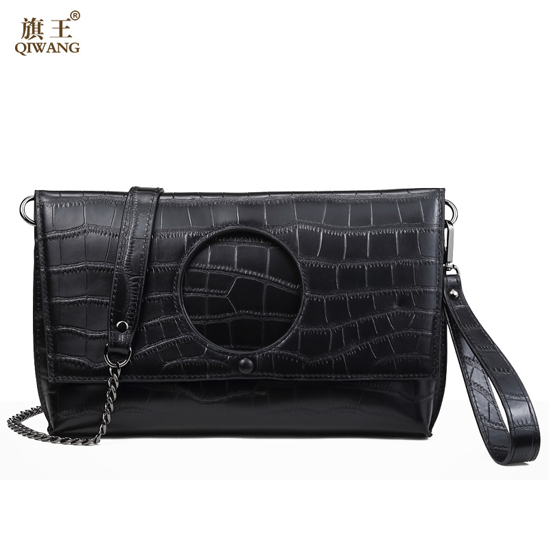 QIWANG Women Small Leather Shoulder Bags Clutch Crossbody Small Bag Lady Handbag and Purse Round Crocodile Leather Clutches alligator crocodile leather mini women crossbody bags small women bag sling lady messenger shoulder bag purse lady handbag