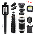 Camera Phone lens 12in1 Kit Fisheye Wide Angle Macro Lentes 8x Zoom Telephoto Lenses For Cell Phone Tripod Clips Selfie Flash