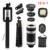 Teléfono con cámara de lente 12in1 Kit de Lentes de ojo de Pez de Gran Angular Macro 8x de zoom teleobjetivo lentes para trípode teléfono celular clips selfie Flash