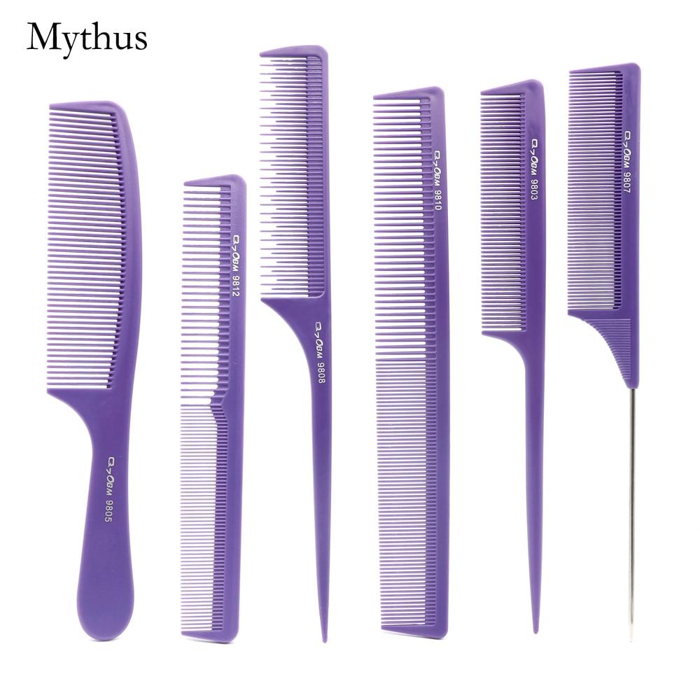 Pro 7 copë / shumë Lythë flokësh Purple flokësh Purple Q-07 Antistatik për prerje flokësh krehër me krehër karboni për flokë të çelikut për flokë