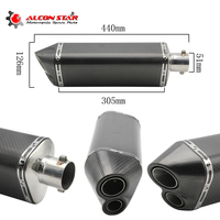 Universal Modified Motorcycle Exhaust Pipe Muffler Carbon Fiber Exhaust Pipe YZF600 R6 ER6N R1 CBR300 YZF