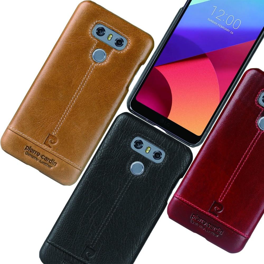 imágenes para Pierre Cardin Caso Para LG G6 Original Marca de Lujo de Cuero Genuino caso Trasero Duro para el LG G6 Caso Ultra Delgado Protector cubierta