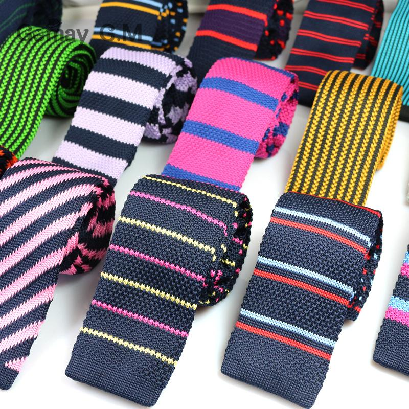 Fashion Mens Knit Ties Colorful New 6cm Narrow Width Knitted Skinny Neckties For Party Wedding Male Neckwear Tie Cravat