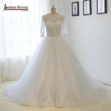אמנדה Novias חצי שרוול תחרת Appliqued קריסטל חגורת חתונה שמלת 2019