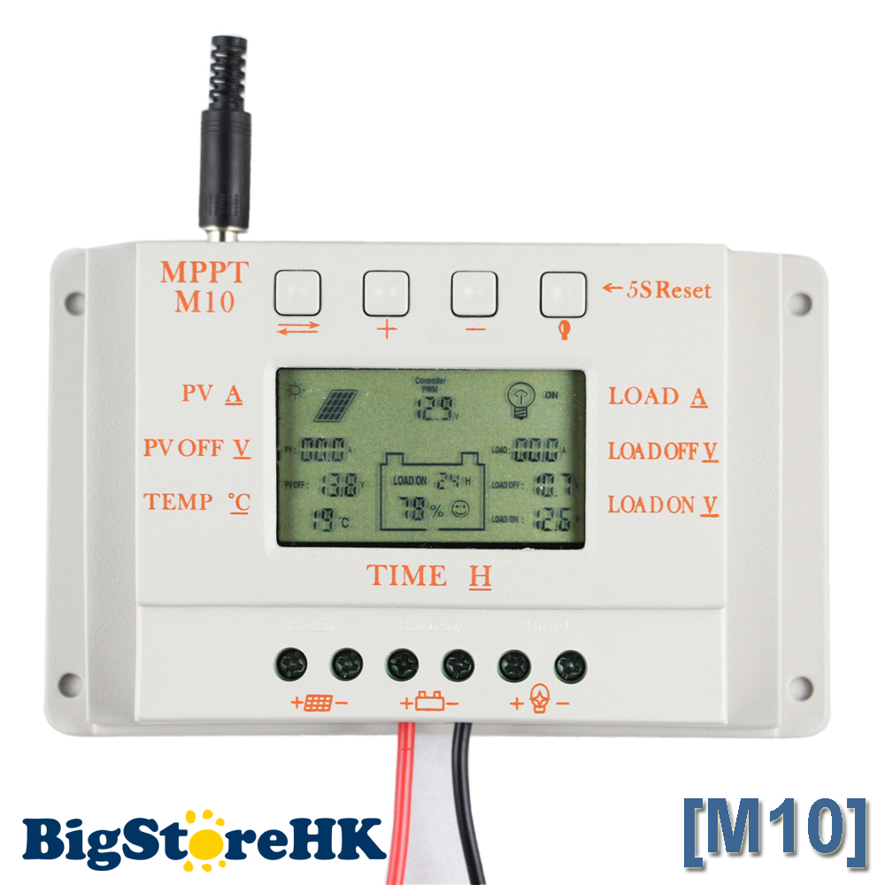 Solar Charge Controller 10a Lcd Display 12v 24v Panel Battery Regulator Load Light And Timer Control For Home System