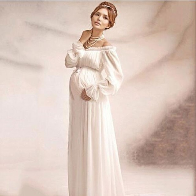Clobee Pregnant Women White Chiffon Gown Ruffles Sleeve Shoulderless ...
