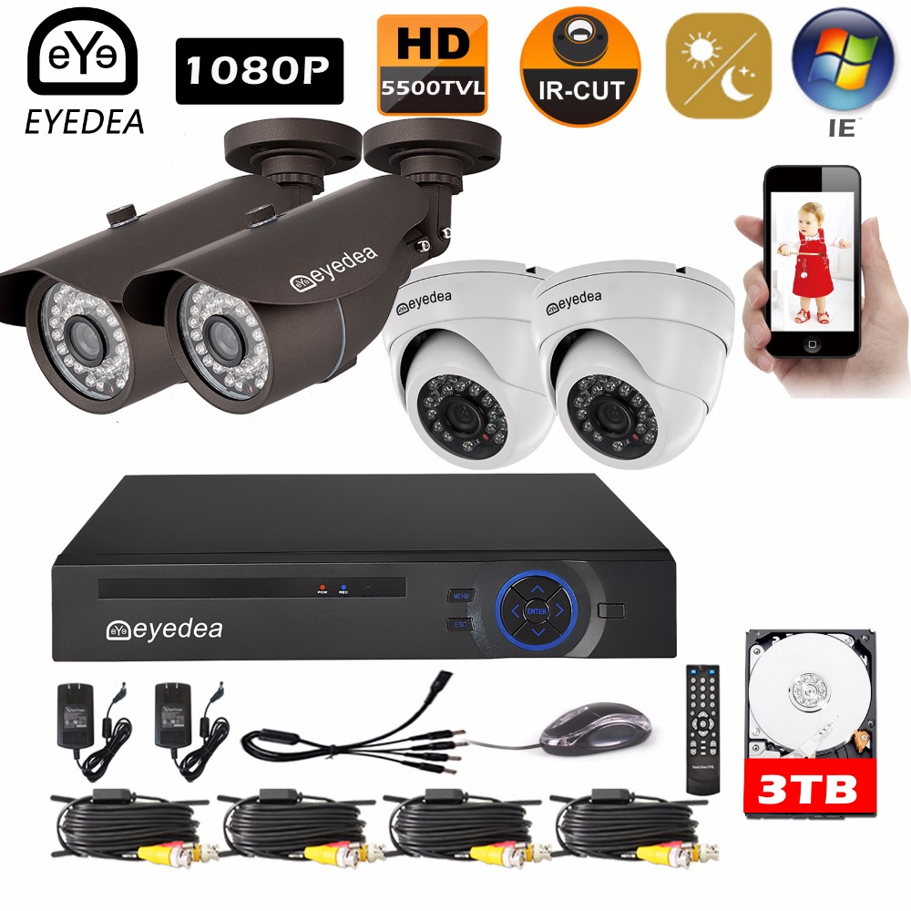 Eyedea 8 CH Surveillance DVR Remote View Video Recorder 2.0MP CMOS Bullet Dome Night Vision CCTV Security Camera System Kit 3TB 16channel cif resolution cctv camera recorder dvr h 264 motion detect remote view security system cctv dvr support ptz p2p hdmi