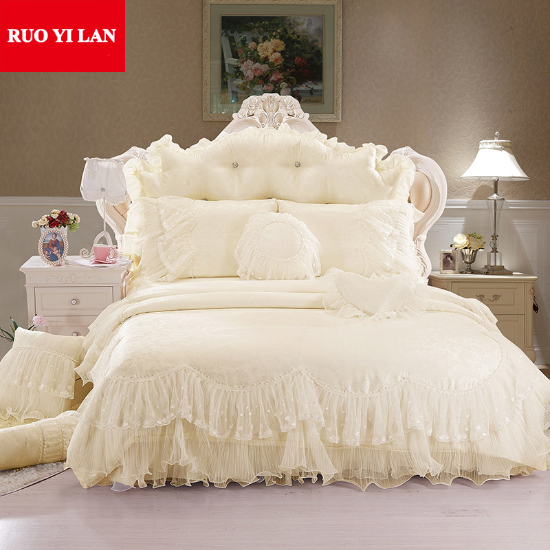 Light White Jacquard Silk Princess Bedding Set 4pcs Silk