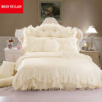 Light white Jacquard Silk Princess bedding set 4pcs silk Lace Ruffles duvet cover bedspread bed skirt bedclothes king queen size