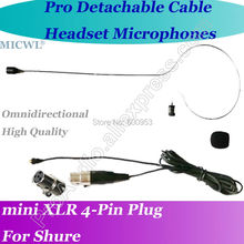 Detachable Cable Black Headset Microphone for Shure Wireless with 4Pin XLR mini connector