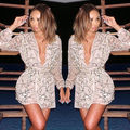 2016 New Fashion Womens Sexy Long Sleeve Deep V Neck Party Short Mini Dress Paillette Dress