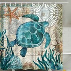 Urijk Sea Turtle Print Waterproof Shower Curtain Polyester Fabric Bath Curtain Octopus Home Bathroom Curtains with 12 Hooks
