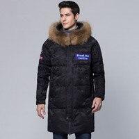 Для мужчин куртка 2018 зима новый средней длины Толстая теплая печати енота меховым воротником пальто