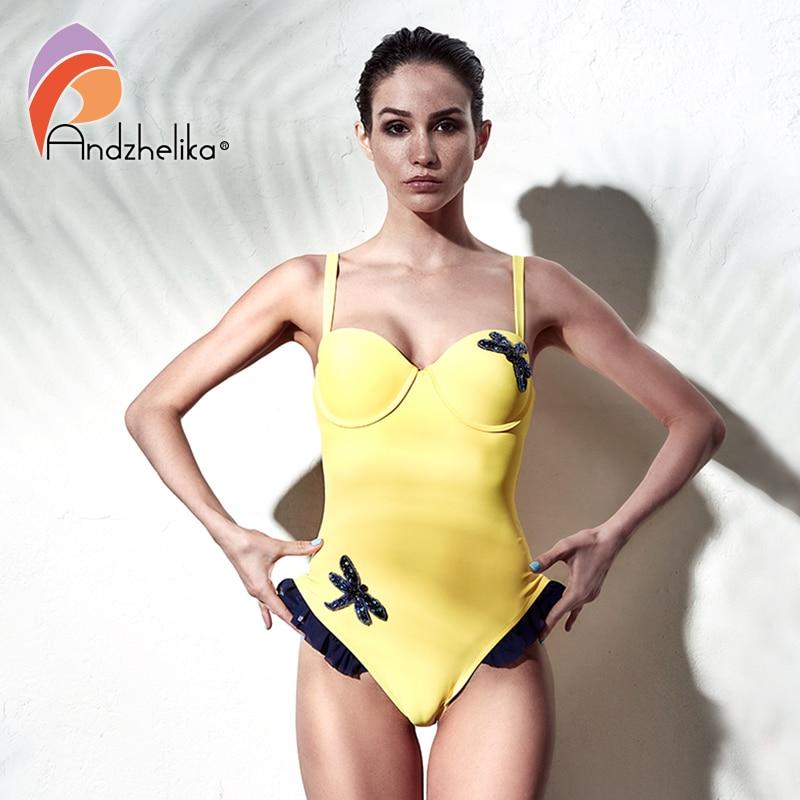 Andzhelika 2018 New High Quality Diamond Dragonfly One Piece Swimsuit Sexy Mesh Push Up Swimwear Bodysuit Bathing Suit Monokini