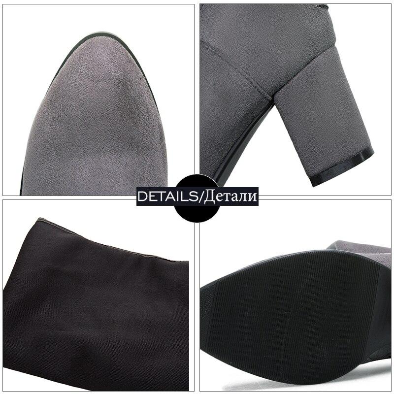 Negro Nueva gris Señora De Zapatos Gruesa Tinto Botas Estiramiento Calzado Toe Flock vino Invierno Wetkiss Mujeres Rodilla La Tacones Punta Sobre Altos Moda qHRZTH