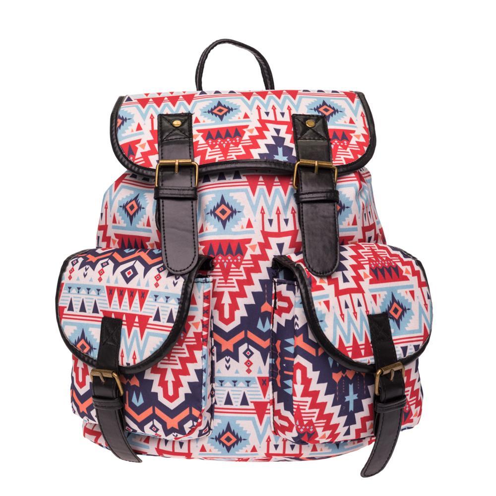 2017 Fashion LIPS DOT TONGUE retro schoolbag pattern retro girls double bag 2pcs tongue