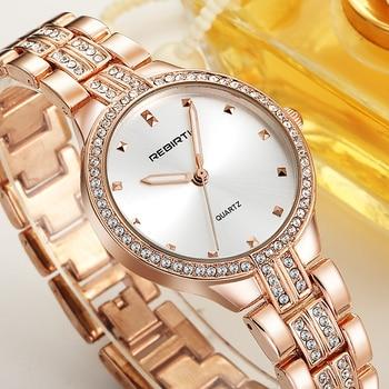 d056491d6148 YENIDEN DOĞUŞ altın kuvars saat Kadın Marka Lüks Elmas Kol Kadın Saat  Bayanlar Reloj Mujer Hodinky Için Relogio Feminino