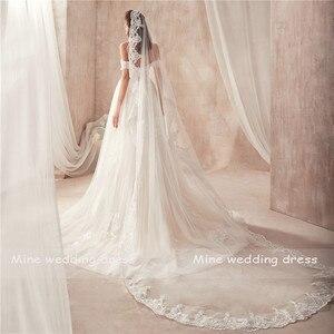 Image 5 - 2021 Off the Shoulder Nude Color Bridal Dress with Lace Applique Reals Bridal Dress New Coming Robe De Soiree Longue