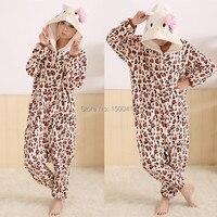 Cartoon Animal Costume Leopard Dress Kitty Adult Onesie Unisex Women Men S Pajamas Halloween Christmas Party