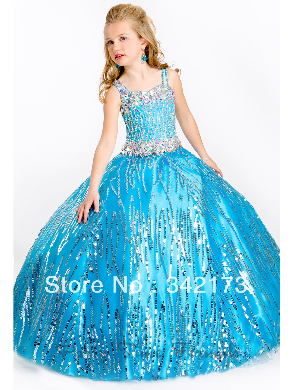 Perfect Turquoise Sequins Party Ball Gowns Flower Girls Formal Party ...