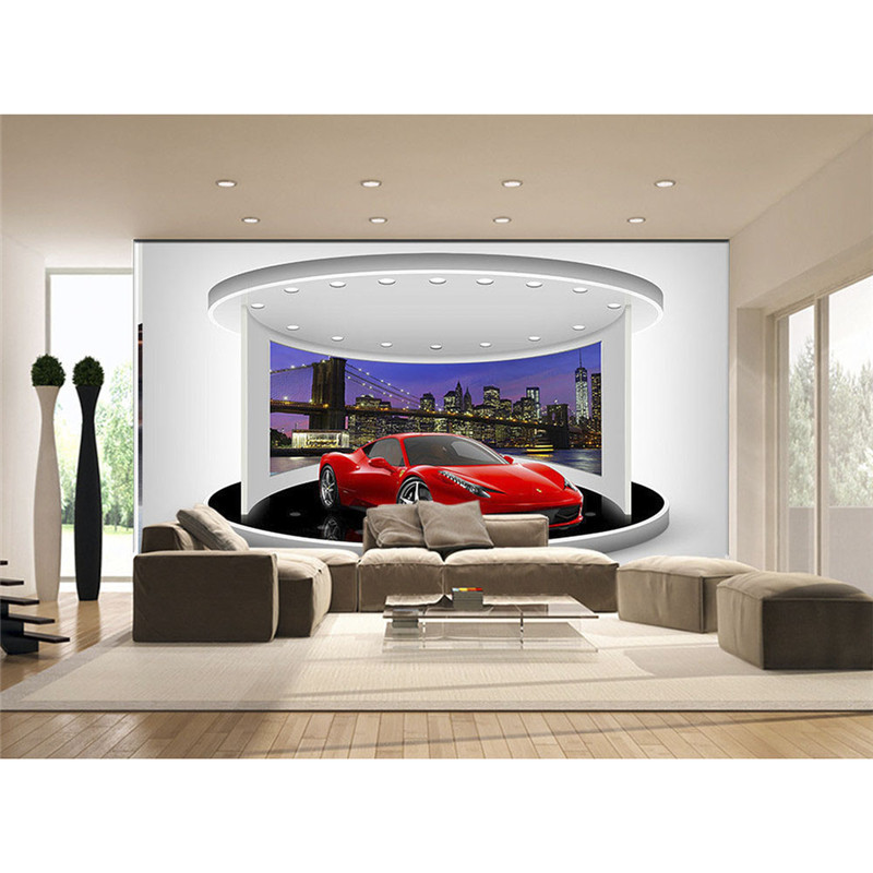 Night Sports car Wall Mural Modern Wallpaper For Walls 3D Living Room Photo Non-woven Wall Paper Home Decora Beautiful 400