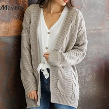MayHall Long Sleeve Cardigan Autumn Winter Drop Shoulder Jumper Casual Open Stitch Sweater Knitted casaco feminino MH365