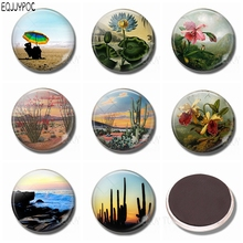 1pcs The Sea Mountain Desert Fridge Magnet Souvenirs Natural Scenery 30 MM Glass Magnetic Stickers for Refrigerator Home Decor