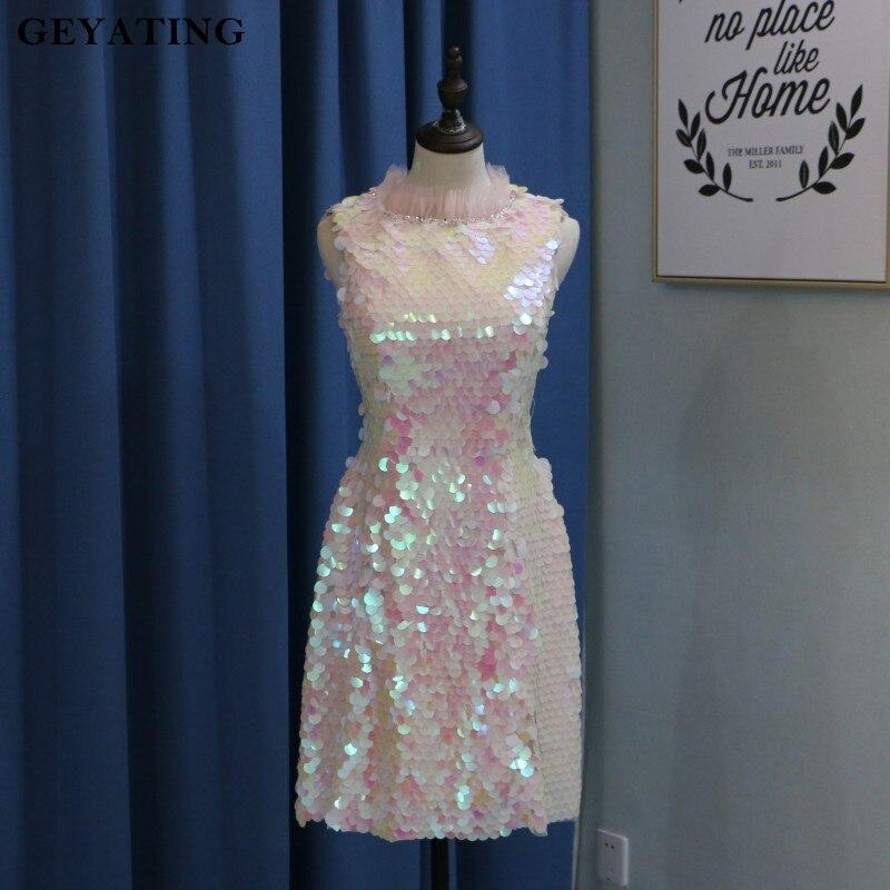 Vestidos De коктель Румяна розовый с блестками Короткие Бальные платья 2018 vvestido Rosa Курто бисером младший платье для выпускного вечера для Выпускн