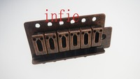 A Set Copper Red 6 String Flat Saddle Single Tremolo Bridge System For Stratocaster Electric Guitar