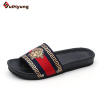 Suihyung Plus Size Women Summer Flat Shoes PU Soft Bottom Platform Slippers Woman Beach Slippers Embroider