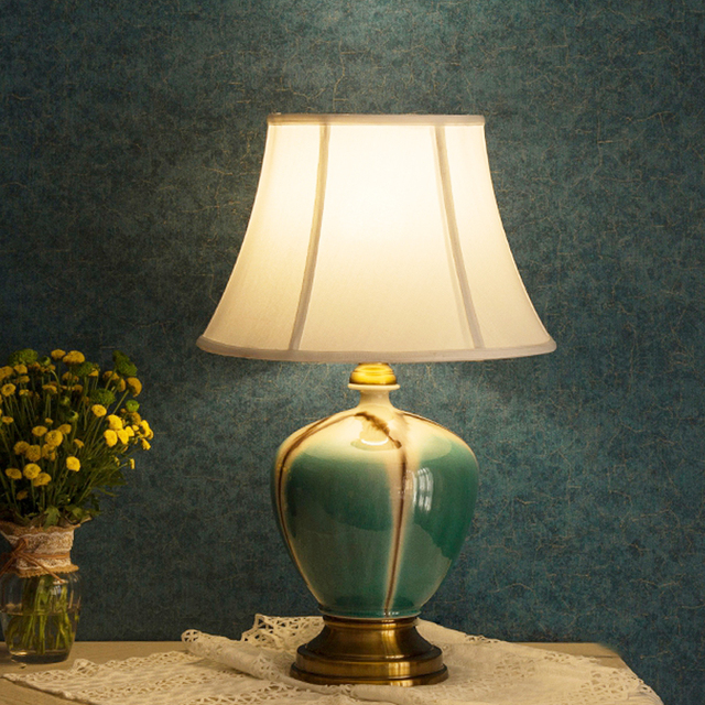 US $239.8 |Glazed Jingdezhen Chinese ceramic table lamp bedroom living room  dining room decoration fashion china table lamp-in Table Lamps from Lights  ...