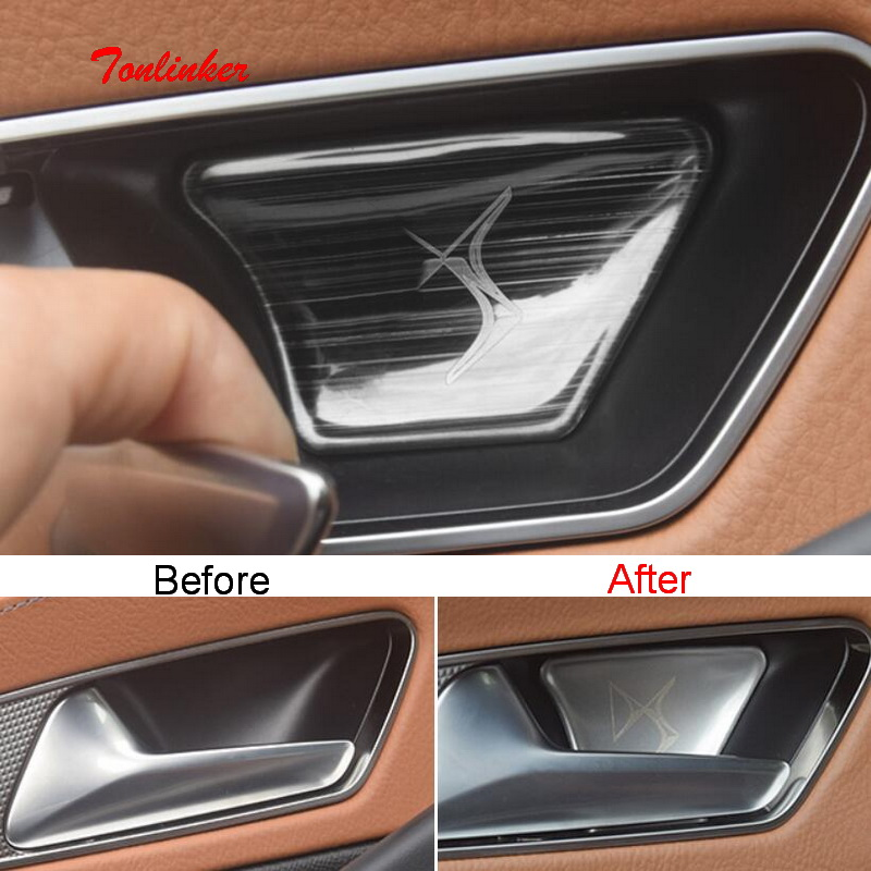 Tonlinker 4 PCS Car Door Handle Bowls Cover Sticker For CITROEN DEESSE DS7 2018-19 Car Styling Stainless Steel Cover Stickers