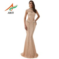 601acbcbe2a99c ANTI Champagne Sexy Mermaid Evening Dress 2019 New Arrival Beading Crystal  Formal Party Gowns For Woman