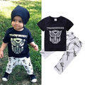 2016 Toddler Kids Boy Cartoon Cool Costume T-shirt Tops Pants 2pcs Outfits Cute Lovely Children Clothes Sets