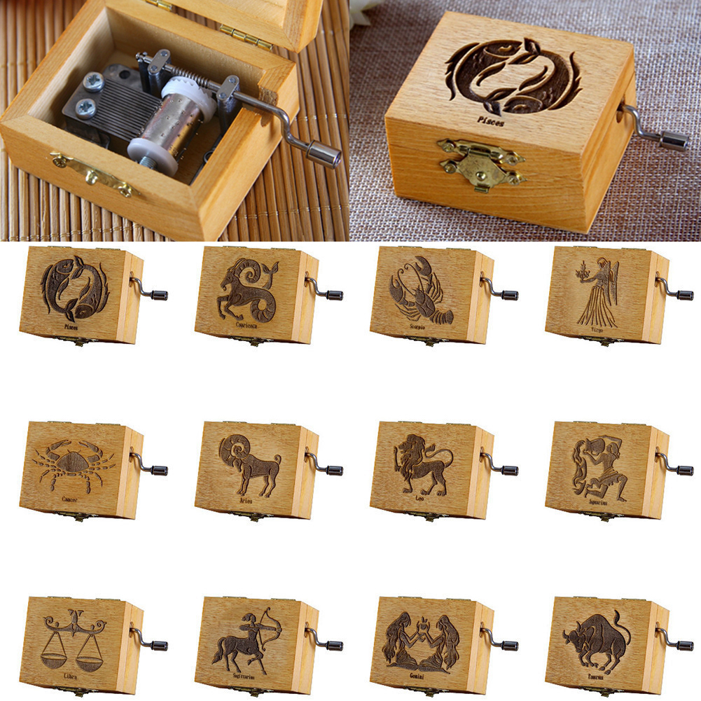 12 Constellation Wood Music Box Children Musical Hand Instrument Music Boxes Christmas Birthday Best Gift Toy Home Decoration