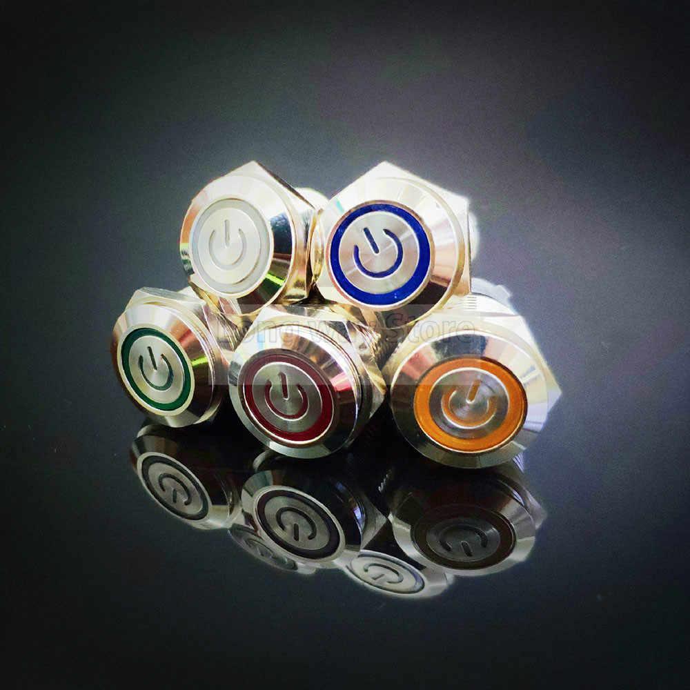 16 мм металлический кнопочный переключатель, водонепроницаемая Плоская Круглая кнопка, светодиодная подсветка, самоблокирующаяся Кнопка сброса питания 1NO1NC