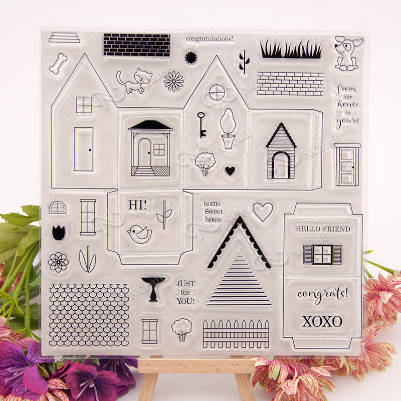 Clear stamp scrapbook DIY album card account rubber stamp finished chapter stamps three-dimensional house scrapbook diy photo cards account rubber stamp clear stamp finished transparent chapter wall decoration 15 18