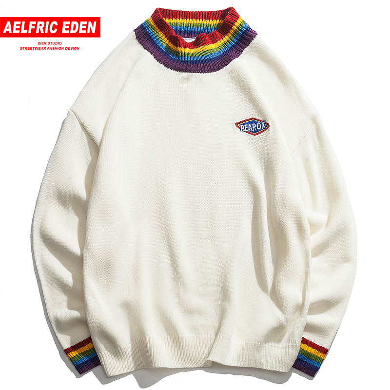 Aelfric Eden Patch Design Knitwear Rainbow Collar Casual Sweaters Men Sweater High Quality Harajuku Retro Knit Streetwear FC38